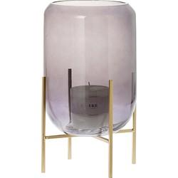 Riverdale Olivia Waxinelichthouder Metaal/Glas Grijs - 33 cm