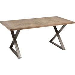 Industry Cross - Eettafel - 180x90cm - teak - metalen kruis frame