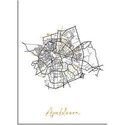 Apeldoorn Plattegrond Stadskaart poster met goudfolie bedrukking - A2 + Fotolijst zwart