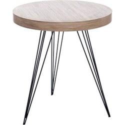 Retro - Bijzettafel - rond - hout - smeedijzer - 55x55x60cm