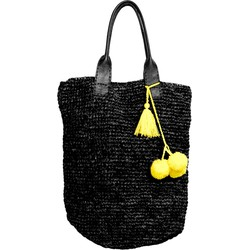 Raffia Shopper Black-Yellow 55x45