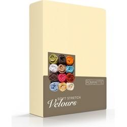 Romanette Hoeslaken stretch Geel Velours, 80% Katoen, 20% Polyester, 220 gr/m2 1-persoons 80/90/100x200/210/220