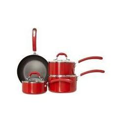 Linea Principle red four piece pan set