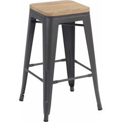 Set van 4 barkrukken - Retro - mat grijs hout - 66 cm