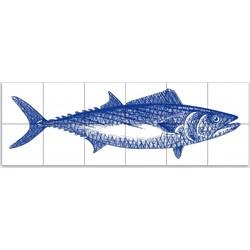 Tegeltableau Tonijn Crosshatch 3x8 Blauw