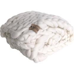 Plaid sneeuwwit (biologische wol) - Maat loper- Blokken