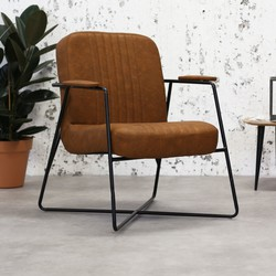 Vintage Industriële fauteuil Henderson cognac