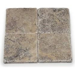 Travertine Silver Tumbled 10 x 10 x 1 cm