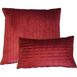 Kussen fluweel bordeaux rood 50x50 cm & kussen fluweel bordeaux 30x50 cm Set van 2