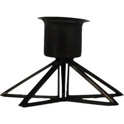 Kandelaar met Glas-7x5cm-Incl. 5 witte kaarsen-Metaal-Zwart-Housevitamin