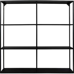 Vierkante Wandkast met vakjes-90x90cm-Metaal-Zwart-Housevitamin