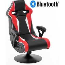 24Designs Silverstone - Racestoel Gamestoel Rocker - Bluetooth & Speakers - Zwart / Rood