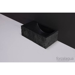 Forzalaqua Venetia XS Fontein Rechts 29x16x10 cm zonder kraangat Graniet Gekapt