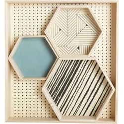 House Doctor Hexagonal Tray - / Set de 4. Black,Sky blue,Natural wood