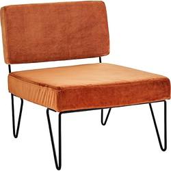 Madam Stoltz Loungestoel Velvet/Ijzer 65 x 76 x 76 cm - Burned Orange/Zwart