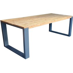 Wood4you - Eettafel New Orleans Roasted wood - Antraciet 180/90cm