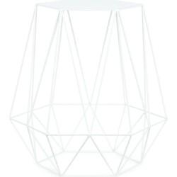 Bijzettafel ijzerdraad 6-hoek/diamant - wit