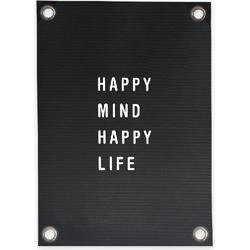 Tuinposter Letterbord Happy Mind Happy Life (50x70cm)