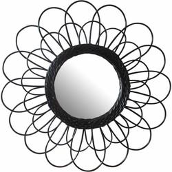Spiegel Jet - rotan - zwart - 50 cm