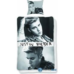 Dekbedovertrek Justin Bieber Zwart/Wit - 140x200cm + Kussensloop 60x70cm
