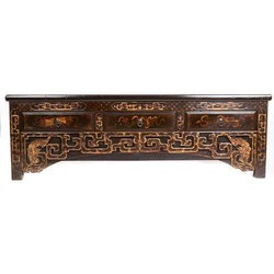 Fine Asianliving Antieke Chinese Kast Laag met Handgesneden Carvings