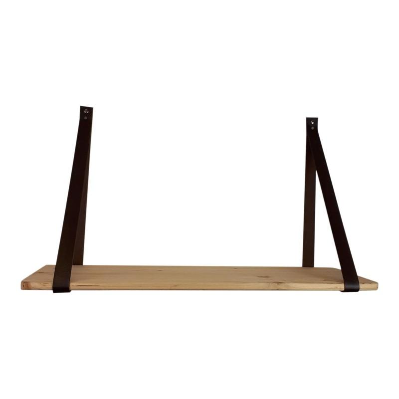 Mooie Houten Wandplank.Houten Wandplank 70x38cm Met Kunstlederen Hengsels Hout Kunstleer Bruin Housevitamin