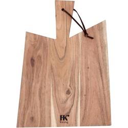 HK-living broodplank acaciahout met lederen touwtje XL 44x32x1,5cm