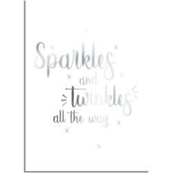 Kerstposter Sparkles and Twinkles all the way - Kerstdecoratie Zilver folie + wit - A2 + Fotolijst wit