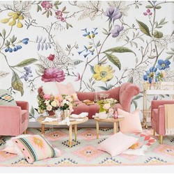 Oud geverfd behang bloemen 350x300cm