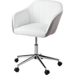 Bureaustoel Katsina - kunstleer/geweven stof - Wit/lichtgrijs, home24 office