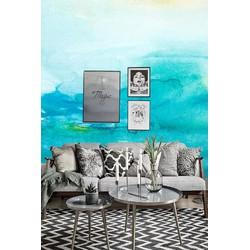 Vliesbehang XL Waterverf blauw 300x250 cm