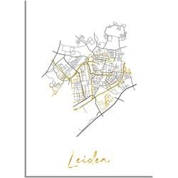 Leiden Plattegrond Stadskaart poster met goudfolie bedrukking - A2 + Fotolijst wit