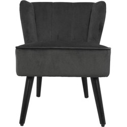 Cocktail chair Estelle - velours - donkergrijs