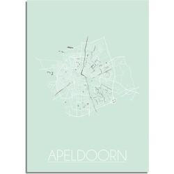Apeldoorn Plattegrond poster Pastel groen - A2 + Fotolijst zwart