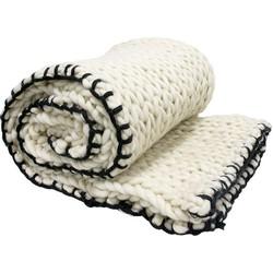 HK-living sprei bedsprei gebreid wit met zwarte rand wol 120x180cm