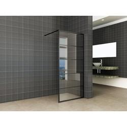 Saqu Industrial Black Douchewand met Nano Glas 120x200 cm Mat Zwart
