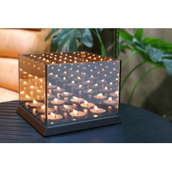 Candle lights mirror glass - zwart - 9 kaarsjes