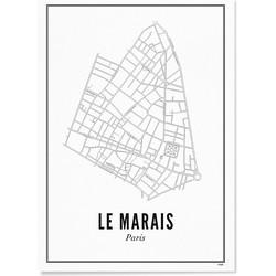 WIJCK. Poster Parijs Le Marais Papier Off-White - 30 x 40 cm