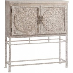 Oriental - Wandkast - hout - ivoorkleurig - oosterse deco - op metalen poten - 2 deuren