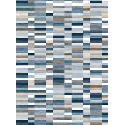 Nightlife - Vloerkleed - Qube Pattern - Katoen / Chenille - Blauw