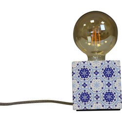 Blok Lamp-10x10cm-incl. grote gloeilamp-Mozaïek-Blauw-Housevitamin
