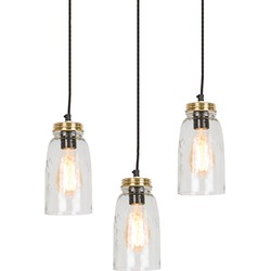 Set of 3 Vintage Pendant Lamp Gold with Clear Glass Shade - Masons