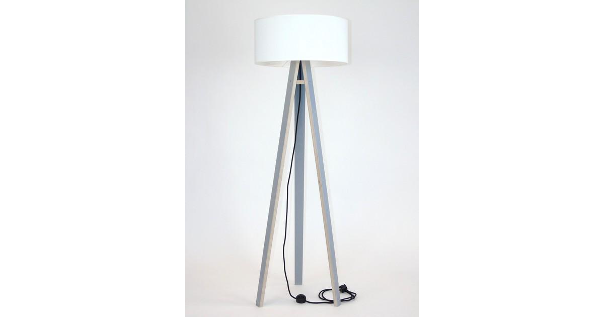 Lamp Wanda grijs multiplex met witte kap en zwarte kabel