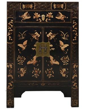 Fine Asianliving Fine Asianliving Chinese Kast Handgetekende Gouden Vlinders Zwart -