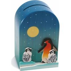 Spaarpot 3D Pinguin Hout  - Weizenkorn