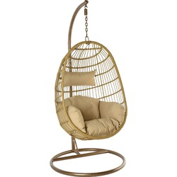 24Designs Relax Hangstoel Monaco 1-Persoons Egg Chair Naturel Incl. Standaard + Zandkleurige Kussens - Indoor En Outdoor