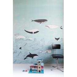 Walvis blauw kinderbehang Studio Claas