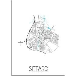 Sittard Plattegrond poster - A2 + Fotolijst wit