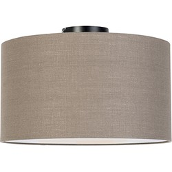 Modern Ceiling Lamp Black with 35cm Aged Grey Shade - Combi