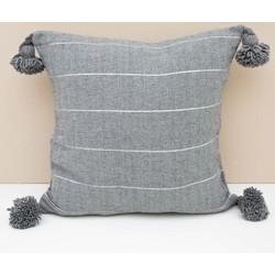Pom pom kussen dark grey/silver